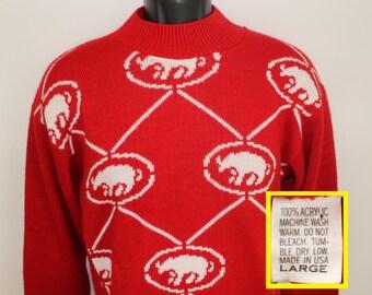Rhino rhinoceros vintage red sweater 100% acrylic high neck long sleeved
