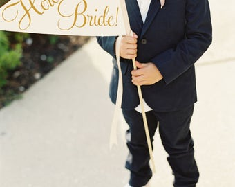 Here Comes The Bride Sign | Handcrafted Wedding Banner Large Pennant Flag Wedding Sign Flower Girl Ring Bearer Flag Classic Script 1001 LW