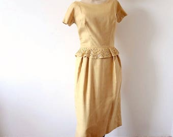 1950s Party Dress gold cocktail wiggle gown with rhinestone & bead peplum - vintage holiday attire