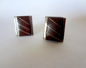 Vintage 1960s Silver & Wood Cuff Links - modernist men's accessory from Taxco Mexico