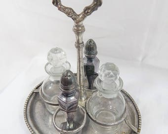 Vintage Cruet Set,Silver Plated Shakers,Glass Oil and Vinegar ,dipping set,Cruet set with Carrier