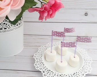 Pink and Silver Glitter cupcake flags on purple food toothpicks - Set of 25 - Cake Flags