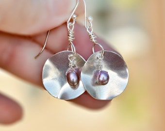 Round Silver Sheet Earrings. Silver Disc Earrings with Pink Pearls. Organic Silver Earrings. Silver Jewelry. Made in Israel. Free Shipping