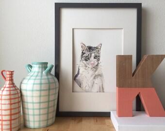 Custom Cat Portrait, Pet Loss Gift, Cat Memorial Portrait, Sympathy Gift, Original Watercolor Pet Portrait