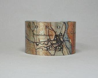 Brattleboro Vermont Cuff Bracelet Unique Hometown Map Gift for Men or Women