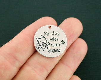 2 Dog Memorial Charms Antique Silver Tone My dog flies with angels - SC7072 NEW5