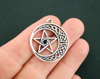 4 Celtic Knot Pentagram Charms Antique Silver Tone - SC7085 NEW1