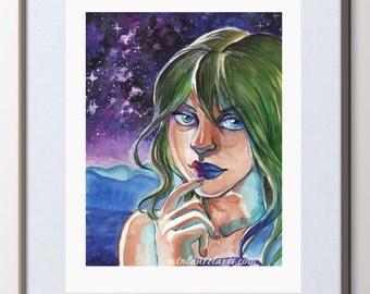 Original Painting - Space Art - Portrait with Milky Way - Water Color Gouache Painting - Space Painting Portrait - Modern Pop Art