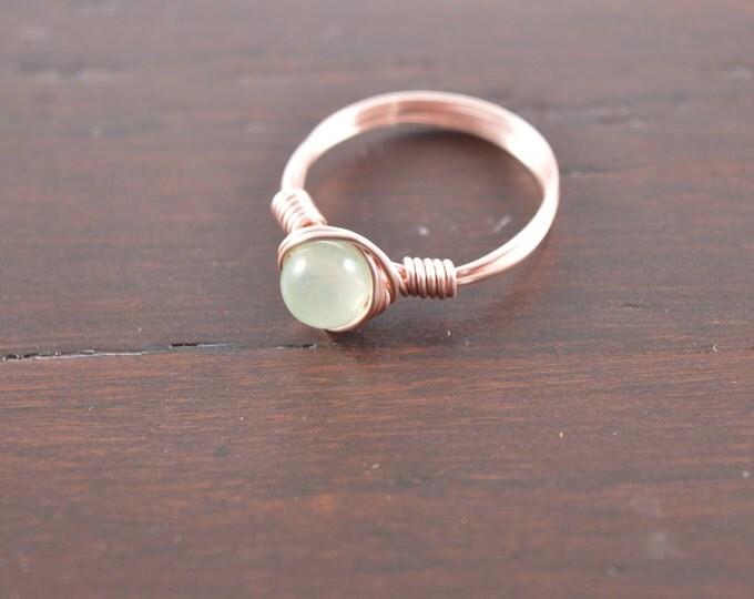 Chalcedony Gemstone Wire Ring