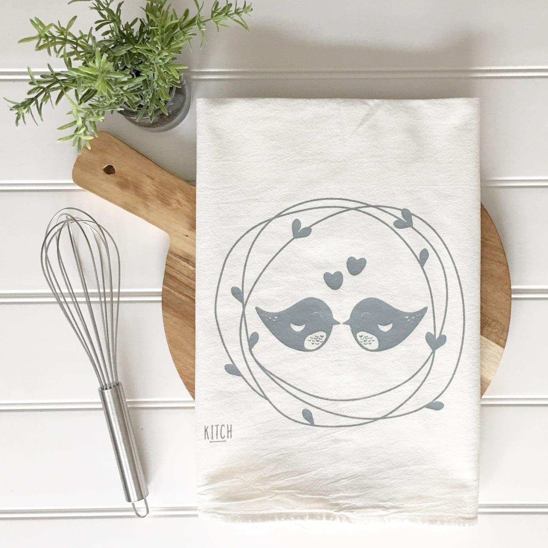 Wedding Gift Tea Towels : Tea Towel Wedding Gift Valentines Day tea towel Lovebirds