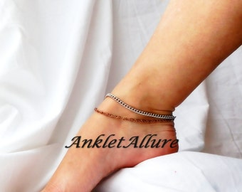 Just Chain Southwestern Silver Anklet Fusion Silver Copper Chain Ankle Bracelet