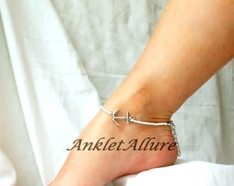 Anchor Anklet White Beach Ankle Bracelet Beach Anklet Body Jewelry Fetish Foot Jewelry