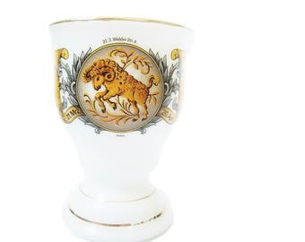 German Milk Glass Aries Zodiac Sign Drinking Goblet - White Glass Beverage Cup - The Ram - Aries March - April Zodiac - Vintage German Glass