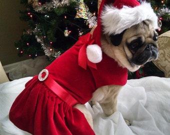 Little Miss Claus - Christmas Dog Dress. Christmas dog dress custom dog dress holiday dog dress large dog dress small dog dress dainty dog