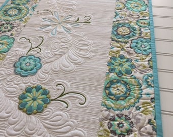 Quilted Spring Easter Table Runner Appliqued Flowers Thread Painting Heavily Quilted Aqua Green Cream