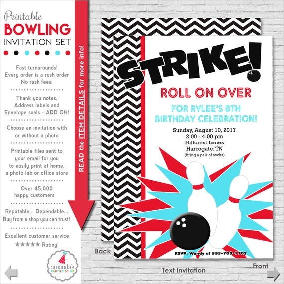 Bowling Party Invitation Bowling Birthday Invitation