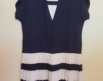 Vintage 1980's navy blue and white drop waist pleated skirt nautical secretary dress