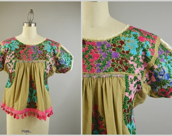 Vintage Mexican Top Size Large Oaxacan Embroidered Blouse Brown Cotton with Pink Pompoms Bird Embroidery Little People Smocking
