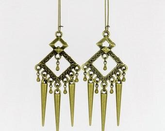Long Dangle Metal Spike Earrings, Antique Brass, Original Design