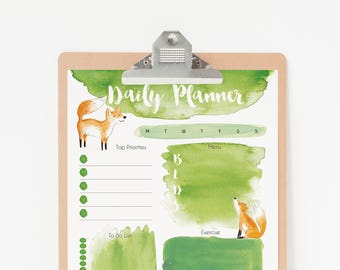 Daily Planner Printable - Fox Planner Pages - To Do List Planner Printable - Digital Planner PDF Download - Daily Planner Fox Art