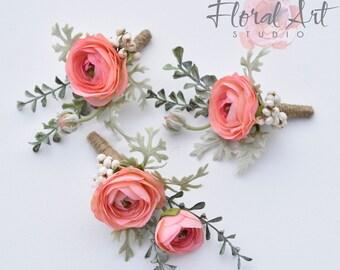 Wedding boutonniere, Groom's boutonniere, Silk ranunculus boutonniere, Ranunculus boutonniere, Silk flower boutonniere, Wedding flowers.