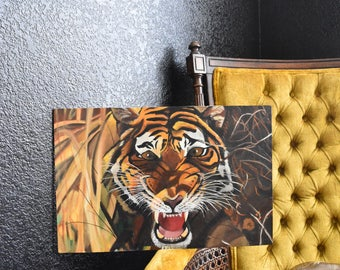 original wild tiger roaring painting / jungle safari / african