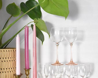 set of 9 pink stemware champagne glasses / barware