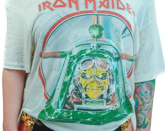 Vintage Iron Maiden Shirt 1984 Aces High Concert shirt Band Tee Paper Thin Heavy Metal Rocker 80s Tee 80s shirt Authentic Official Rare