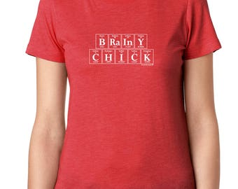 Periodic Table BRAINY CHICK T-Shirt by Periodically Inspired - Scoopneck, Super-Soft Tri-Blend Tee, Vintage Red
