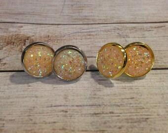 The Sugar Earrings in Peach | Orange Glitter Earrings | Glitter Druzy Earrings | Glitter Jewelry | Orange Druzy Earrings