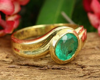 1.10 Carat Natural Emerald Ring, Solid Gold Emerald Ring, Emerald Ring Gold, 14k Gold Ring, Dainty Ring, Emerald Ring, May Birthstone