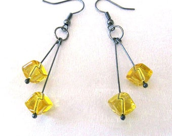 Yellow Glass Cube Earrings, Upcycled Vintage Beads, Dark Gray Gunmetal, Modern Art Deco, One of a Kind