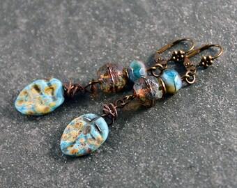 Rustic Gypsy Earrings Boho Chic Earrings Artisan Jewelry