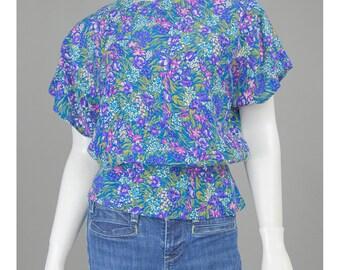 Vintage Peplum Blouse Blue Floral Blouse 80s Blouse Flutter Sleeve Top Teal Gold Purple Floral Shirt Floral Print Top 1980s Blouse