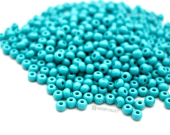Turquoise Green Seed Beads, 4mm 6/0 Seed Beads
