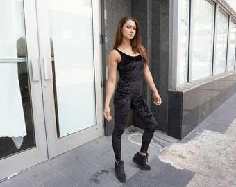 Black Velvet Sleeveless Bodysuit, Unitard, Catsuit, Quality Velvet, Available in More Colors. Sizes S, M, L, XL