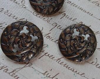 3 Beautiful antique French Art Nouveau filigree buttons with flower vignettes BELLE BROCANTE