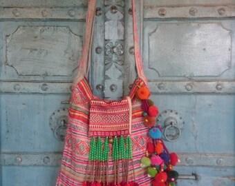Vintage Hmong Batik Fabric Tribal Shoulder bag Hand embroidery Ethnic Fahsion