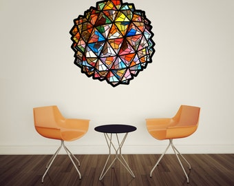 origami art geometric wall decal -  fabric wall decal removable/ reusable