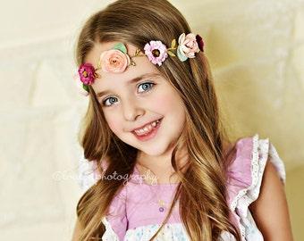 Flower Crown - Flower Crown Tie Back - Newborn Baby Girl Toddler Adult Flower Girl Crown Tie Back - Great Photo Prop