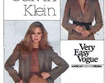 Vogue 2062 Calvin Klein Misses' 70s Jackets Sewing Pattern Size 12 Bust 34