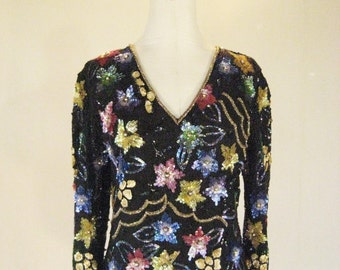 Colorful Sequin Floral Asymmetrical Shirt Top Dress Glam