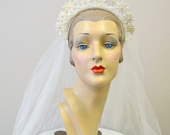 1940s Beaded Bridal Headband Tiara and Veil