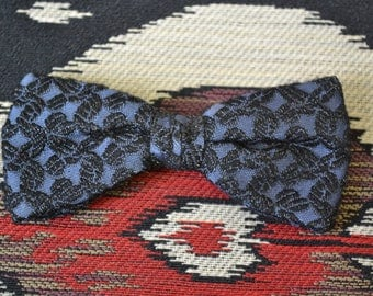 1960s Black and Blue Clip-on Bow Tie