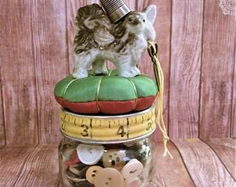 Pincushion jar,vintage mixed media, Antique sewing supplies,vintage sewing supplies