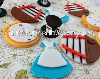 NEW ALICE in WONDERLAND inspired. 12 Edible Cupcake Toppers
