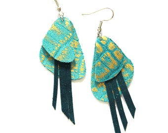 Crocodile Textured Gold and Turquoise Leather Earrings with Fringe