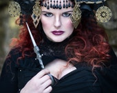 Black & Gold 'Runa' Beaded Couture Headdress