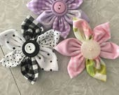 Reserved Vintage Fabric Flower Pins Set of Three For Ellen