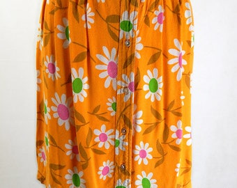 Original 1960s Vintage Bright Flower Power Skirt UK Size 8